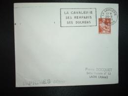 LETTRE TP PAYSANNE 6F OBL.MEC.20-8 1958 LA CAVALERIE AVEYRON (12) SES REMPARTS SES DOLMENS - Oblitérations Mécaniques (flammes)