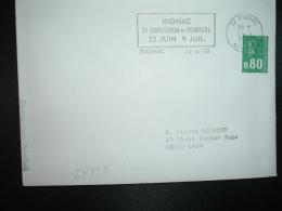 LETTRE TP M.DE BEQUET 0,80 ROULETTE OBL.MEC.24-4 1978 12 RIGNAC AVEYRON 3e EXPOSITION DE PEINTURE 22 JUIN 9 JUIL. - Oblitérations Mécaniques (flammes)