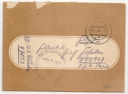 FELDPOSTNUMMER 47053 Pour 50127 L P A PARIS.  Occupation Allemande. 1944 - WW II