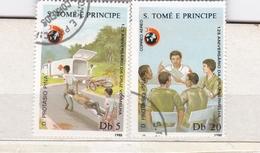 2 FRANCOBOLLI DELLA REPUBBLICA  S. TOME' E PRINCIPE - 125 ANIVERSARIO DA CRUZ VERMELHA - Sao Tomé E Principe