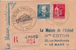 FRANCE - LETTRE PETIT FORMAT RECOMMANDEE EXPO LE MANS 1943 TRAIN PAIX MASSENET - France