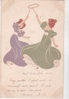 CPA Illustrateur Art Nouveau : Signé HP (Hannes Petersen) Femmes Jouant Au Cerceau  Dos Précurseur  Rare - Petersen, Hannes