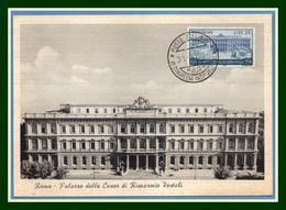 Italia Cartolina Maximum Yv. N° 736 80 Anniversario Del Risparmio Postale 1957 Roma (état Voir!) - Cartas Máxima