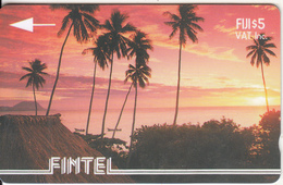 FIJI ISL.(GPT) - Palms & Sunset, FINTEL Second Issue $5, CN : 2CWFA, Tirage 5000, Used - Fiji