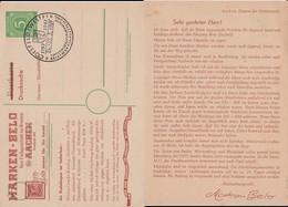 All Bes Ziffer Ganzsache P 950 Priv Zudruck Aachen SSt Coesfeld 1947 - Zone AAS