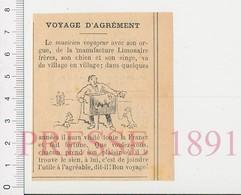 Presse 1891 Musicien Ambulant Orgue Portatif Limonaire Frères Musique Chien Singe 216PF10XQ - Unclassified