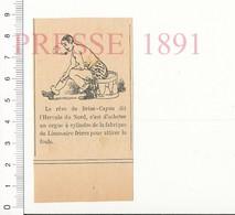 Presse 1891 Brise-Cayou Dit L'Hercule Du Nord Rêve D'un Orgue à Cylindre Limonaire Frères Musique Foire Tambour216PF10XQ - Unclassified