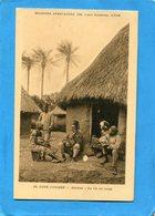 Cote D'ivoire-Abidjan-la Vie Au Camp- Militaire Et Sa Famille Devant Leur Case-années 30-édition Lescuyer - Ivory Coast