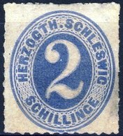 Germania Schleswig 1865 UN N. 13 S. 2 Azzurro MH Cat. € 180 /difettoso - Schleswig-Holstein