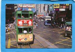 HONG KONG--street Scene-tramway à Impériale  Rue Animée Années 60 - China (Hong Kong)