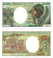 CHAD - 10000 Francs 1984 - 1991 AUNC Serie A.001 P. 12a Lemberg-Zp - Central African States