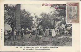 N° 14 Les Marchands De Pagnes Au Marché De TIORONIARADOUGOU, CÔTE D'IVOIRE, Carte Postale Non Circulée - Ivory Coast