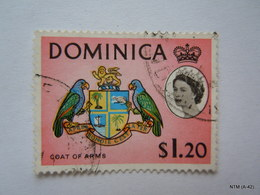 DOMINICA 1963, Queen Elizabeth In Inset, $1.20 Stamps On Coat Of Arms, SG 176. Used Stamps X 4 - Dominica (...-1978)
