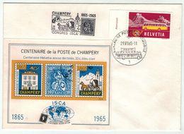 Suisse // Schweiz // Switzerland  // 1960-1969 // Centenaire De La Poste De Champéry  Avec Bloc(Poste Automobile) - Schweiz