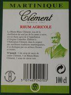 Contre Etiquette  HOMERE CLEMENT Rhum Blanc  CLEMENT  Martinique - Rhum