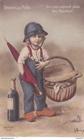 Rare Cpa Graine De  Poilu Enfant Avec Casque Pain Et Champagne - Guerra 1914-18