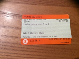 Ticket De Transport Londres «London Underground Zone 1 - Adult Standard Class / SMALL TALK SAVES LIVES SAMARITANS» - Metropolitana