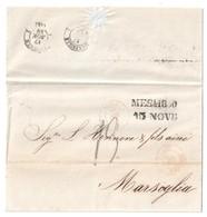4532 MESSINE Sicile Lettre Du 15 Novembre 1859 Dest Marseille Marque Tampon19 Marque D'entrée 2 Siciles - Marcophilie (Lettres)