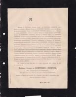 SAUVETERRE Jean Baron De BASTARD Chevalier Légion D'honneur 58 Ans 1888 Paris Avenue Marceau De DOMPIERRE D'HORNOY - Avvisi Di Necrologio