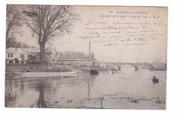 78 Maisons Laffitte Port Et Pont Vue De L' Ile Cpa Animéebateau Cachet Ferroviaire Ambulant Convoyeur Rouen à Paris 1904 - Maisons-Laffitte