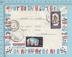 """Egypt - Air Mail, Postmark """"J"""" Killer, Send To Canada, 80m Air Mail + 35m Olympic, Letter - Poste Aérienne"""