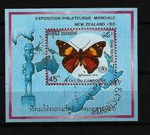 KAMBODSCHA Mi-Nr. Block 176 Internationale Briefmarkenausstellung NEW ZEALAND '90: Schmetterlinge Gestempelt - Papillons