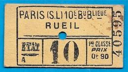 Ticket De Train 1ère Classe (75) PARIS Gare St Saint-Lazare à RUEIL (92) Chemin De Fer De L'ETAT - Ferroviaire 75008 - Transportation Tickets