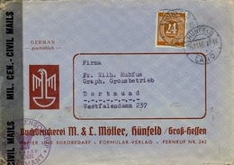 1946 , ALEMANIA ,HÜNFELD - DORTMUND , BANDA DE CIERRE Y MARCA DE CENSURA - Bizone
