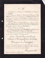 Château De JUIGNE Près Sablé Sarthes Charlotte De PERCIN De MONTGAILLARD De LAVALETTE Marquise De JUIGNE 73 Ans 1897 - Avvisi Di Necrologio
