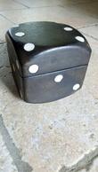 Boîte Coffret Cube (11cm) Pour Dés à Jouer (vide) En Bois Habillage Cuir Noir Et Blanc - MADE IN ITALY - SANS DES - - Unclassified