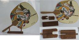 Uchiwa Rigid Fan + Display Stand - Asian Art