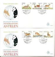 Antillen / Antilles 1992 FDC 235ab Hert Deer WWF Panda - Curaçao, Antilles Neérlandaises, Aruba
