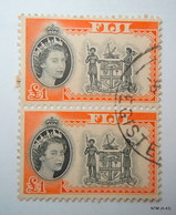 FIJI 1954, Queen Elizabeth In Inset, £1, Block Of 2. Type I. SG 310. Used. - Fiji (...-1970)