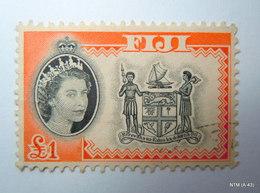 FIJI 1954, Queen Elizabeth In Inset, £1, Type I. SG 310. Used. - Fiji (...-1970)