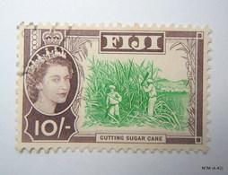 FIJI 1954, Queen Elizabeth II In Inset, Cutting Sugar Cane, 10s. Used. SG 309 X 2 Stamps. - Fiji (...-1970)