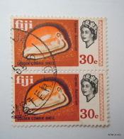 FIJI 1969, Queen Elizabeth II, Golden Cowrie Shell, 30c, Block Of 2. SG 403. Used. - Fiji (...-1970)