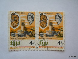 FIJI 1968, Queen Elizabeth II, Native Gold Mining Industry, 4/ SG384, Used Block Of 2 Stamps. - Fiji (...-1970)