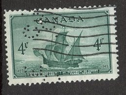 Canada 1949 4 Cent Cabots Ship Matthew Issue #282 Perfin - Used Stamps