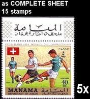 BULK 5 X MANAMA 1970 World Cup Mexico Switzerland 40Dh COMPLETE SHEET:15 Stamps Football Soccer Flags [feuilles] - 1954 – Schweiz