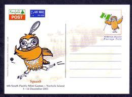 Norfolk Island 2001 Postcard Showing Owl - Norfolk Eiland