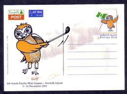 Norfolk Island 2001 Postcard Showing Owl Playing Golf - Golf