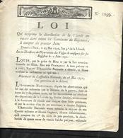 LOI N° 1099 QUI Supprime La Distribution De Viande   à COMPTER DU 01 JUIN 1792 - Decreti & Leggi
