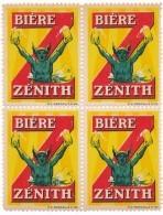 """FRANCE - Vignettes Publicitaires """"Bière Zénith"""" - Bloc De 4 - Erinnophilie"""