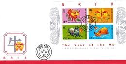 Hong Kong 1997 Year Of The Ox Souvenir Sheet FDC - 1997-... Chinese Admnistrative Region