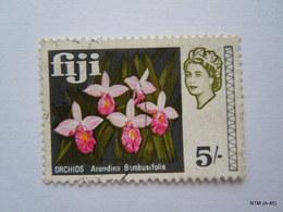 FIJI 1968, Queen Elizabeth II, 5s. Orchid Arundina Bambusifolia. SG 385. Used. X 2 Stamps. - Fiji (...-1970)