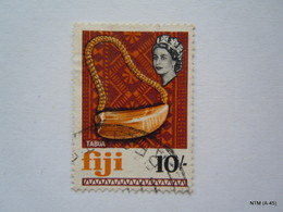 FIJI 1968, Queen Elizabeth II, 10s. Tabua SG 386. Used. X 2 Stamps. - Fiji (...-1970)