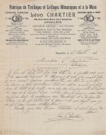 16 2039 ANGOULEME CHARENTE 1918 Fabrique Treillages Grillages LEON CHARTIER Rue Saint Roch MEUNERIE COFFRES POISSONS - 1900 – 1949