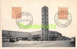 CPA BRUSSEL BRUXELLES GARE DU MIDI ZUIDSTATIE 1955 SALON PHILATELIQUE PHILATELISTISCH - Chemins De Fer, Gares