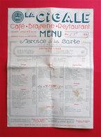 "66 P-O Perpignan 1939 Menu ""La Cigale"" Café-Brasserie-Restaurant Edouard Guilbaud Propriétaire - Menus"