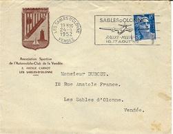 """1952-  Env. Affr. 15 F  Oblit. Flamme Illustrée D-'un Avion """" SABLES D'OLONNE / RALLYE-MEETING / 16.17 AOUT 52 """" - Marcofilia (sobres)"""